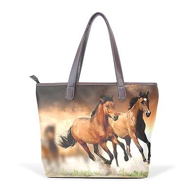 ce4fcc11876 Amazon.com: LORVIES Running Horses Large Tote PU Leather Handle ...