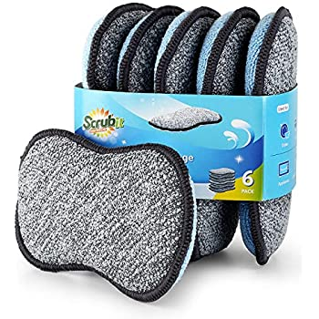 Multi-Purpose Scrub Sponges for Kitchen by Scrub- it - Non-Scratch Microfiber Sponge Along with Heavy Duty Scouring Power - Effortless Cleaning of Dishes, Pots and Pans All at Once (6 Pack, Small)