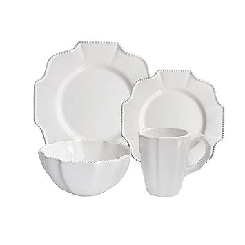 American Atelier 16-Piece Scallop Dinnerware Set White  sc 1 st  Amazon.com & Amazon.com   American Atelier 16-Piece Scallop Dinnerware Set White ...