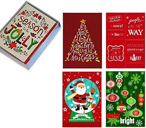 Box Set 20 Festive Christmas Cards: Assorted Designs in Attractive Box with Envelopes, Adorable!