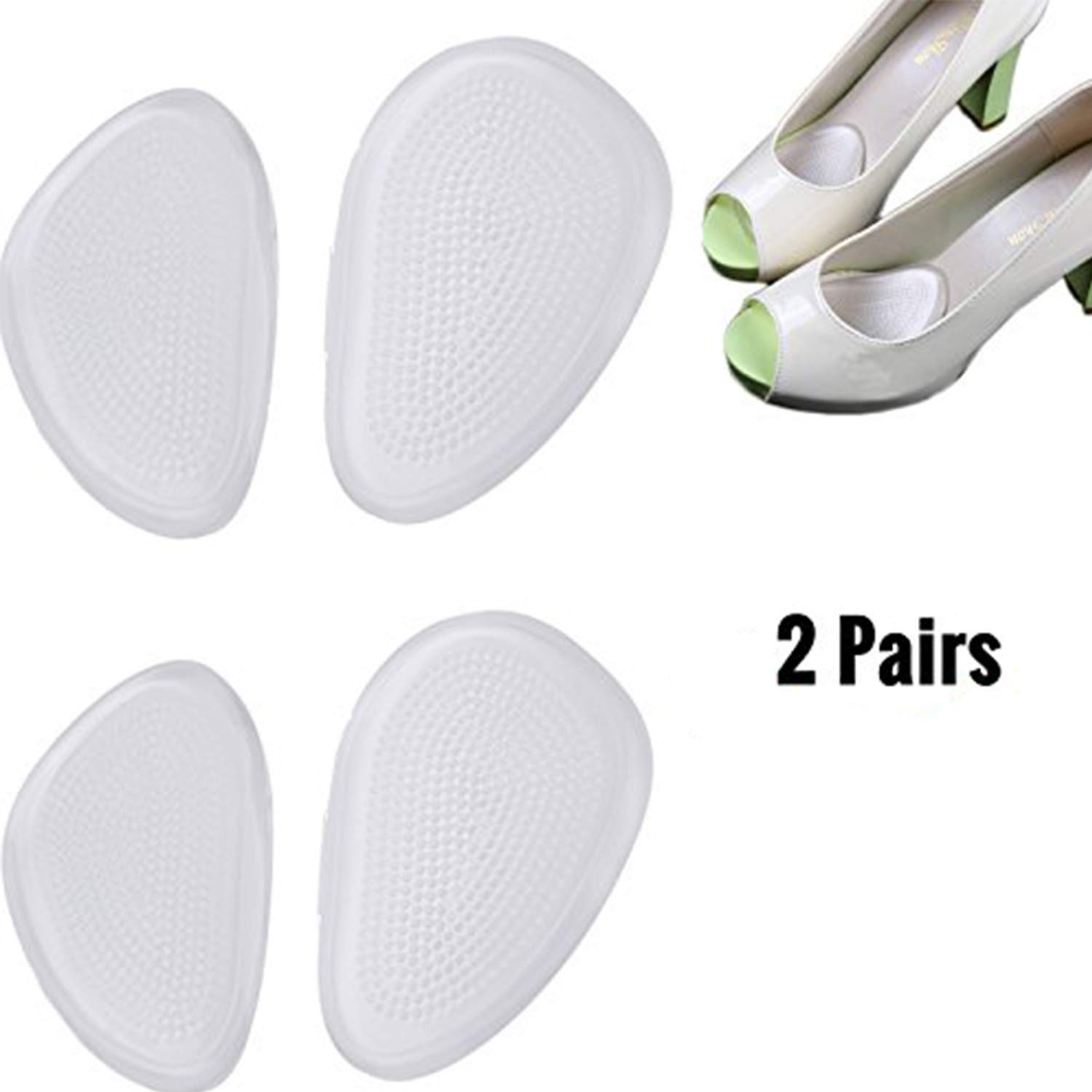 DODOING Metatarsal Pads Cushion Pain Relief and Comfort One Size Fits Shoe Inserts Transparent Foot Pads Gel(2 Pairs Shoe Insert)