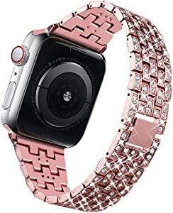 Bling Bands Compatible for Apple Watch Band 38mm 40mm 42mm 44mm Replacement Metal Wristband with Diamond Rhinestone Stainless Steel Bracelet for iWatch Series 4/3/2/1 (Pink, 42 mm)