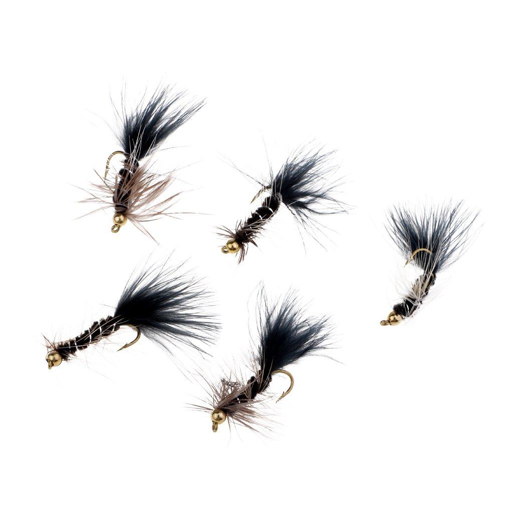 perfk 5pcs Se/ñuelo Insecto Pluma de Pesca de Carpa Mosca Atado a Mano Gancho Streamer Cebo Atenci/ón Pescado Etretenimiento