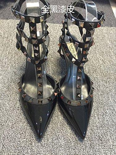 black Remaches Tacones uñas Sandalias Tacones Sandalias T de 5cm alto altos A con VIVIOO full de 6 Zapatos punta tacón Straps bajo tacón de BYqxd