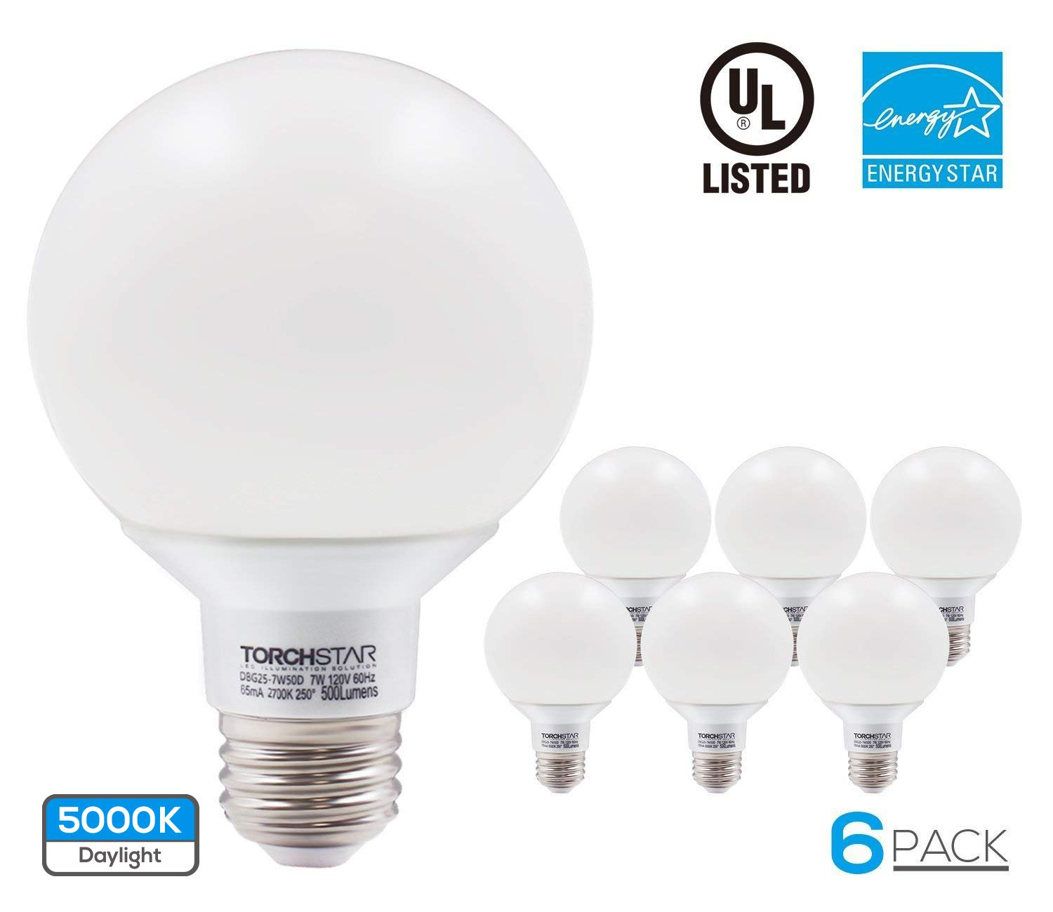 G25 Globe led Bulb Dimmable 7W 60W Equiv, Vanity Style Daylight 5000K for Makeup, Pendant, Bathroom, Dressing Room Decorative Light, 3 YEAR WARRANTY, Pack of 6