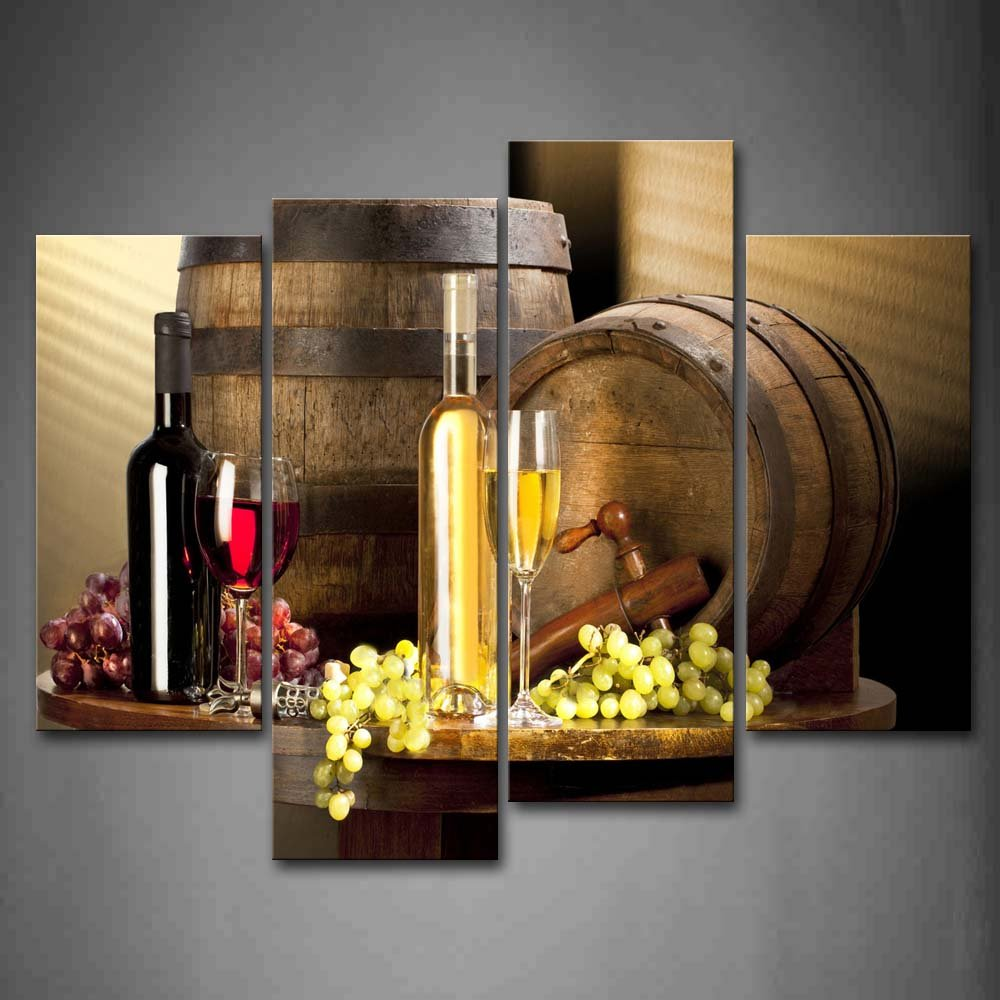 Various Wine With Grape Wall Art For Kitchen Painting Pictures Print On Canvas Food The Picture For Home Modern Decoration by Firstwallart