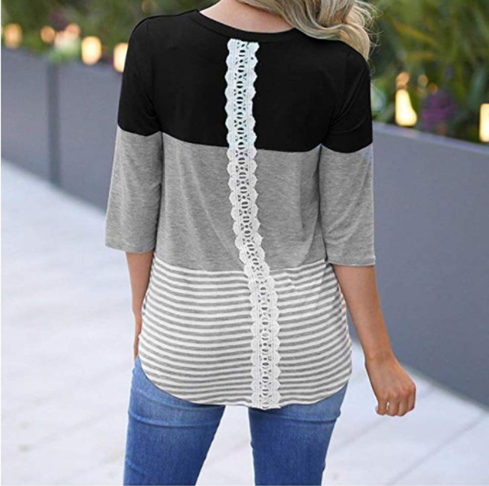 ANDYICEE Womens 3/4 Sleeve Casual Lace Patchwork Color Block T-Shirt Blouses Loose Striped Tops Tee Shirts (Medium, Black) by ANDYICEE (Image #3)
