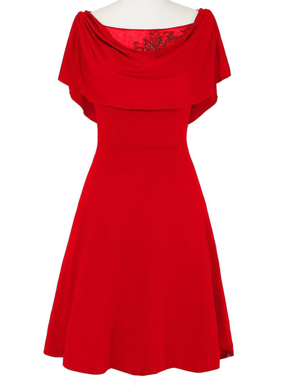 JudyBridal Women Elegant A-Line Knee-Length Mother Of Bride Dresses US4 Red