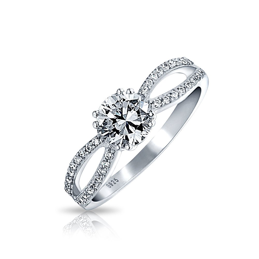 Bling Jewelry Sterling Silver CZ Infinity Engagement Ring Round EOS-CER1001