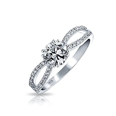 bling jewelry sterling silver round cz infinity engagement ring - Silver Wedding Rings