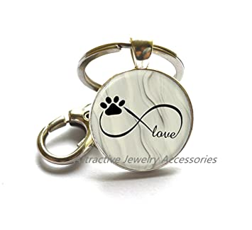 Amazon.com : Dog Paw Picture Key Ring Keychain Photo Key ...
