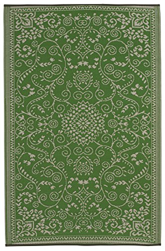 Fab Habitat Murano Recycled Plastic Rug,  Lime Green & Cream, (5' x -