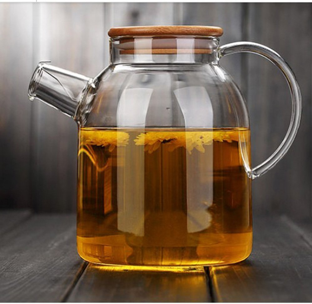 CENSUN 1.6L 56oz Glass Teapot with Bamboo Lid and Filter, Juice Iced Tea Cold/Hot Water Carafe Hand Made Water Pitcher Jug, Flower Loose Tea Coffee Pot Infuser ShengYuanTai