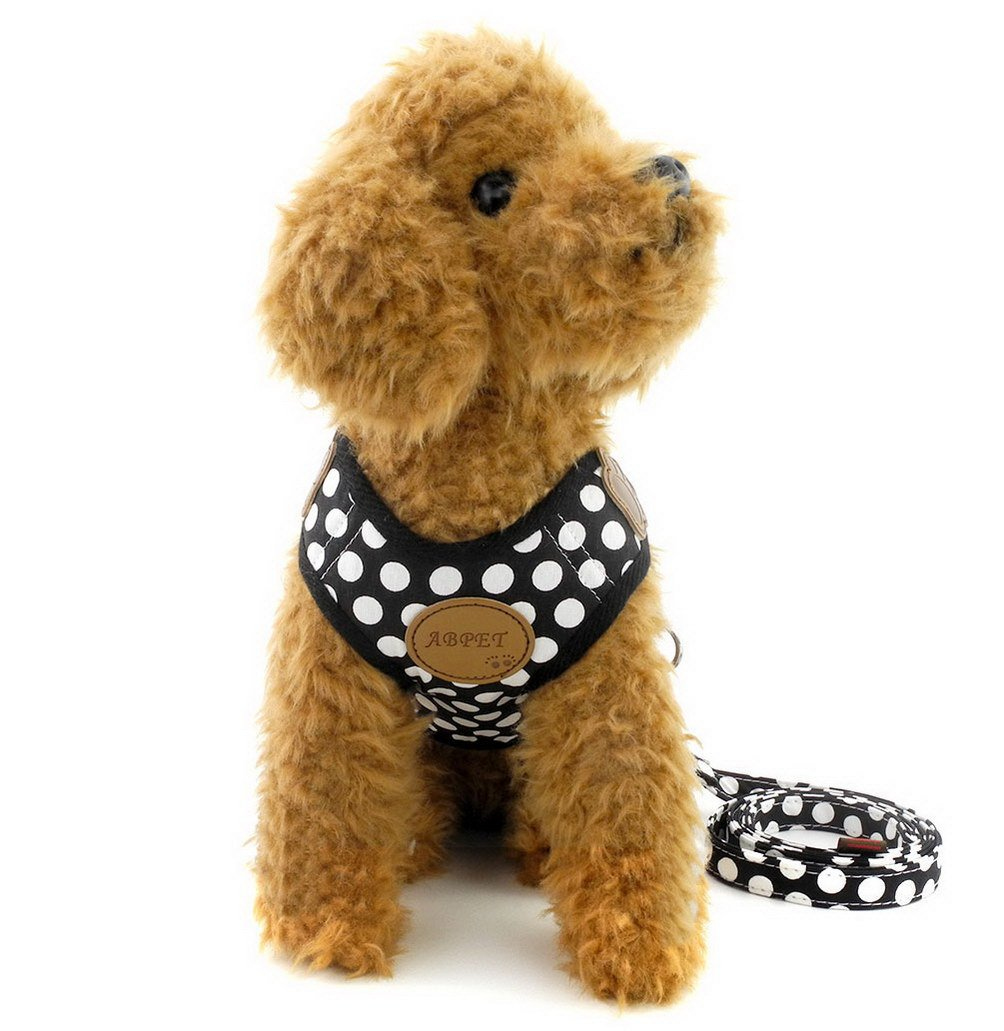 SELMAI Polka Dots Dog Harness Vest Leash Set Paw Patch Mesh Padded No Pull Leads for Small Dog Puppy Cat Black S