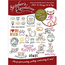 AUNT MARTHA's Stitcher's Revolution Iron-On Transfer Pattern for Embroidery, Raining Cats and Dogs