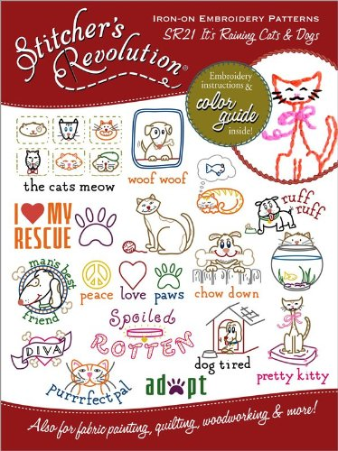 Amazon.com: Stitchers Revolution Iron-On Transfer Pattern for Embroidery, Raining Cats and Dogs