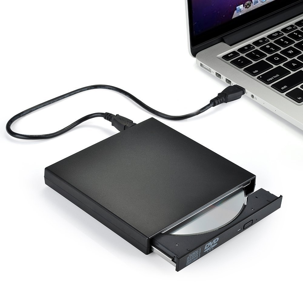 External CD Drive,Ploveyy USB 2.0 External DVD-Reader with CD-RW Burner Drive Drive For Windows 2000/XP/Vista/Win 7/Win 8/Win 10 Notebook PC Desktop Computer,Plug and Play (Black)