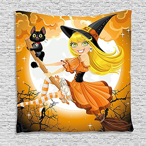[Bedroom Living Room Dorm Elastic fabric Wall Hanging Tapestry Halloween Decorations Cute Sexy Witch on a Broom with Baby Kitten and Hazy Moonlight Bewitched Theme Print] (Cute Halloween Names For Kittens)