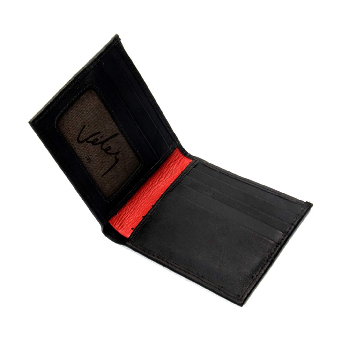 8bf7b55bd7b2 Velez Genuine Men Leather Soft Thin Slimfold Bifold Holder Cartera de Cuero  para Hombre Caballero Black at Amazon Men's Clothing store: