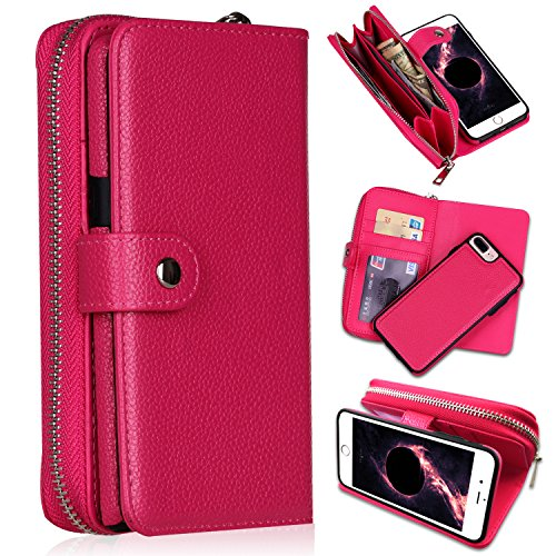 iPhone 7 Plus/iPhone 8 Plus Wallet Cases, [Large Capacity][Magnetic Detachable] CASEOWL 2 In 1 Zipper Pocket Leather Wallet Case with Wrist Strap, Stand, Cards Holder for iPhone 7/8 Plus-Hot Pink
