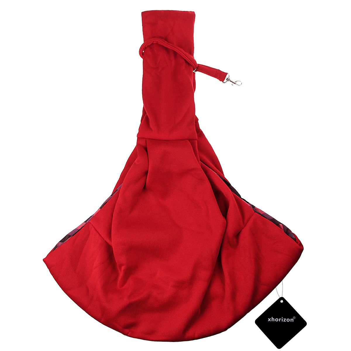 Pet Sling Carrier, xhorizon TM FL1 Soft and Comfortable Cotton Material, Hands-free Reversible Pet Sling Shoulder Bag Adjustable for Small Medium Dogs Cats, Perfect for Outdoor and Travel (Red)