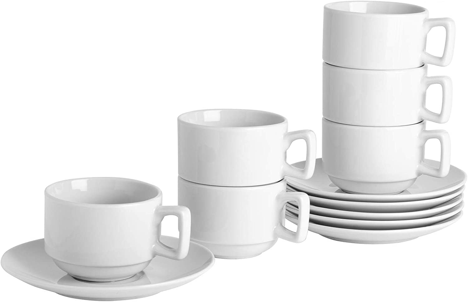 Argon Tableware White Stacking CupSaucer Set 200ml (7oz) 6 Cups & 6 Saucers