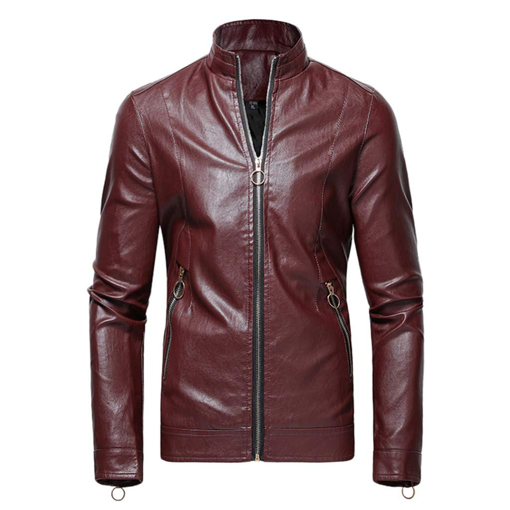 Redacel Men's Stand Collar Faux Leather Motorcycle Jacket Casual Long Sleeve Zip-Up Distressed Jacket (Wine,3XL) by Redacel