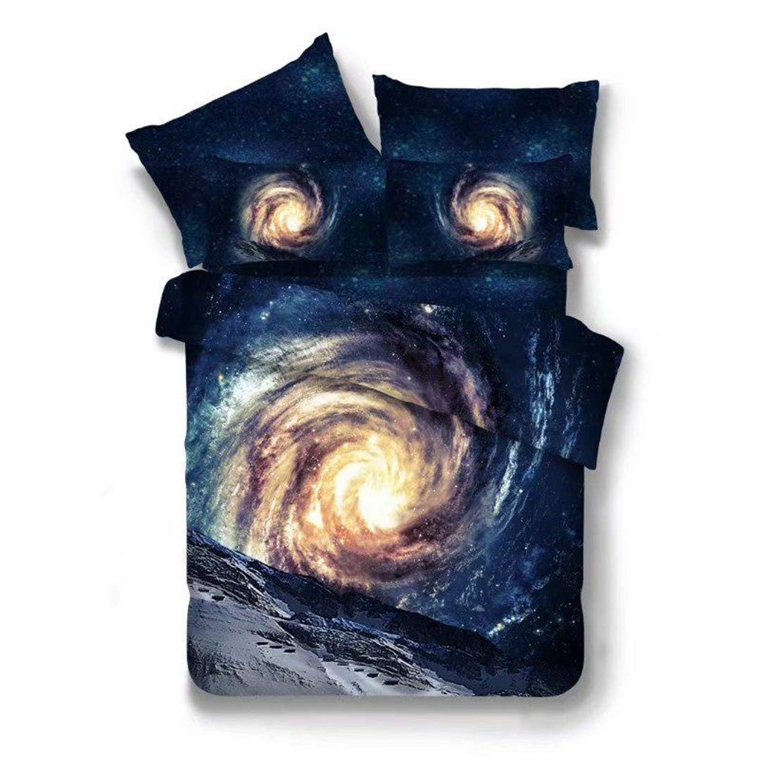SHADEHAO Home Textile 3D Blue Universe Bedding Sets Kid Teenage Adult Linens Planet Duvet Cover Pillowcase Flat Bed Sheets Queen 13 Queen 3Pcs No Sheets Flat Bed Sheet