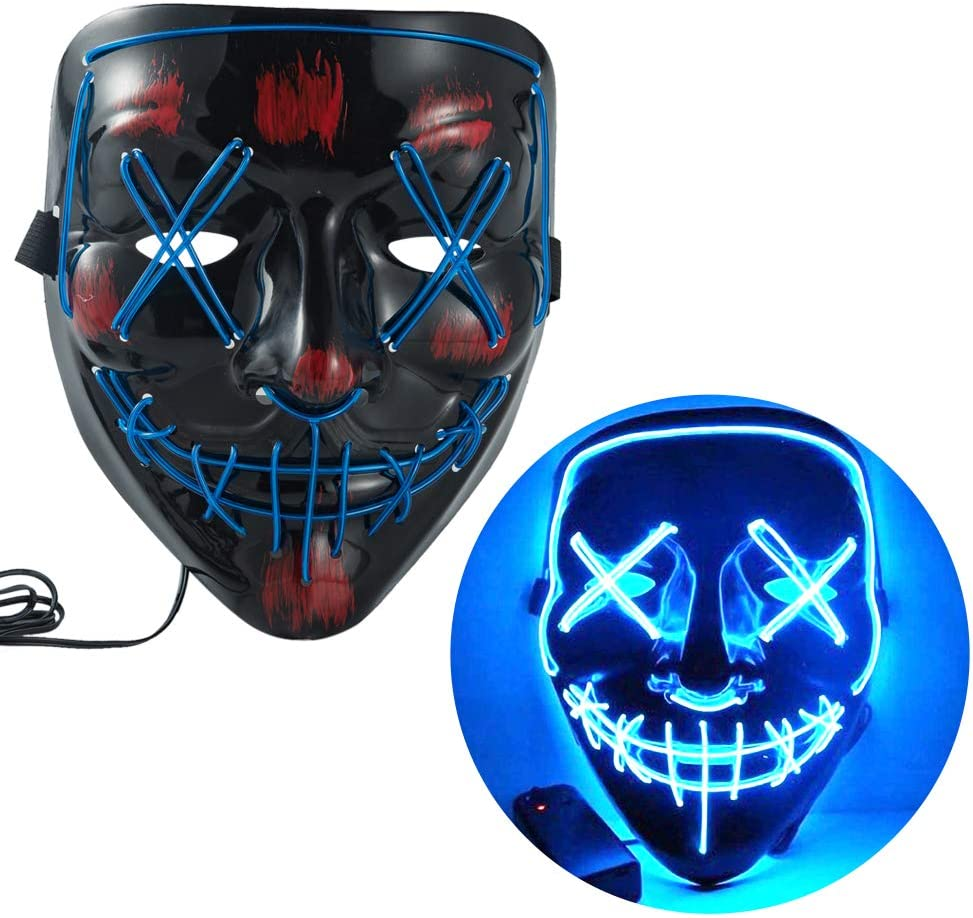 WUJO LED Party Mask,EL Wire Scary Costume Glowing Mask Light up for Haunted House Halloween Festival Party (blue)