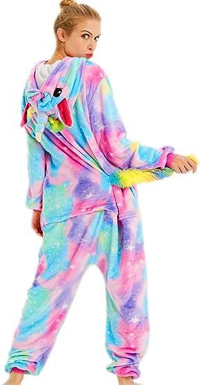 qqonsie Pijama de Unicornio para Adultos, para Mujeres, Hombres, Adolescentes, Onsie, Pijama - Multicolor - XX-Large (Altura 185/195 cm)