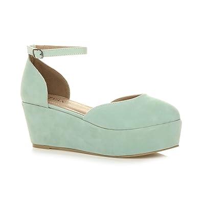 1cc5b980f48ac Ajvani Womens Ladies mid Wedge Flatform Platform Ankle Strap Court Shoes  Size 3 36