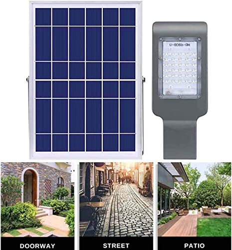 SZYOUMY Solar Street Flood Lights IP65 Outdoor Lamp 20W 1100 Lumens with Remote Control Dusk to Dawn Security Lighting for Yard, Garden, Gutter, Pathway, Basketball Court, Arena 20W No Pole