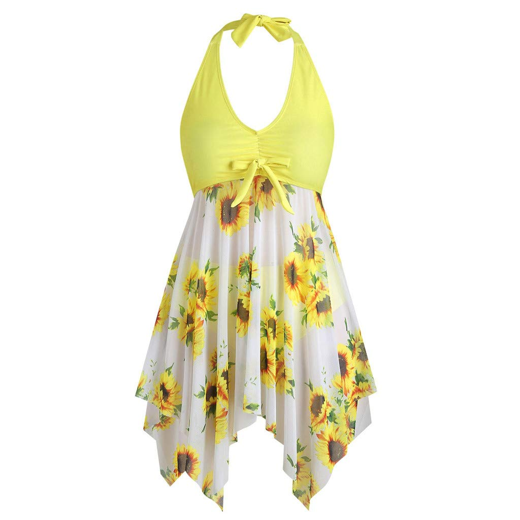 Excursion Sports Women's One Piece Halter Tankini Swimsuits, Sunflower Print Sexy Bowknot Off Shoulder Backless Bathing Suits Swimwear by Excursion Sports