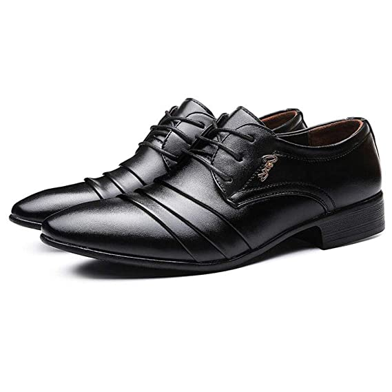 zxcvb Mens Breathable Leather Casual Shoes Lace up Oxfords Dress Shoes Brown Black