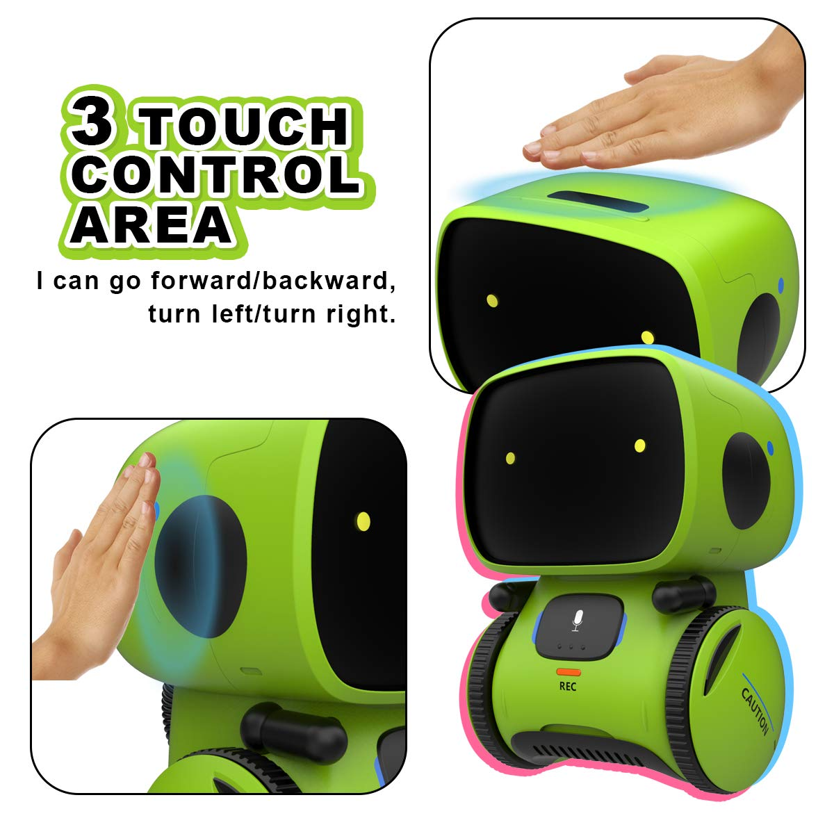 Gilobaby Kids Robot Toy, Talking Interactive Voice Controlled Touch Sensor Smart Robotics with Singing, Dancing, Repeating, Speech Recognition and Voice Recording, Gift for Kids Age 3+ (Green) by GILOBABY (Image #2)