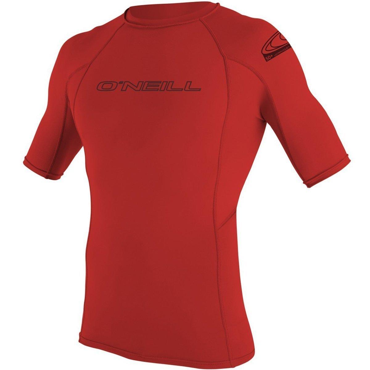 O'Neill  Men's Basic Skins UPF 50+ Short Sleeve Rash Guard, Red, Small