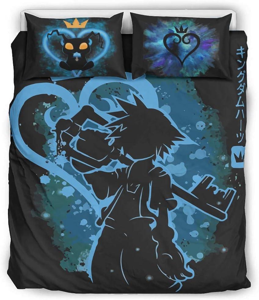 LAFROABC Three-Piece Suit Winter Bed Twin Set, Kingdom Hearts Sora Key Pattern Sheet Set White 168x229cm