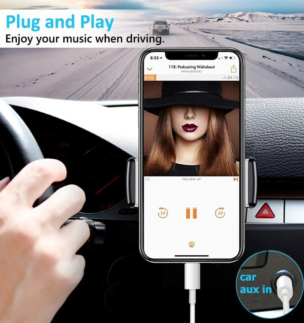 Headphone Speaker Compatible with All iOS Systems 3.3ft Aux Cable for Car for iPhone X//XS//8//8Plus//7//7Plus Jack to 3.5mm Male Audio Adapter for Headphones Jack Cable Aux Cord for Car Stereo