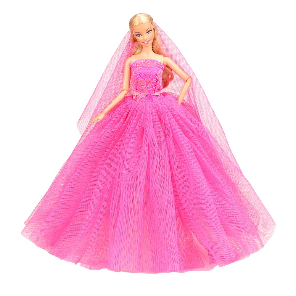 dd691bd45e93 Amazon.com: BARWA Beige Wedding Dress with Veil Evening Party Princess  Beige Gown Dress for Barbie Doll … (Rose Red): Toys & Games