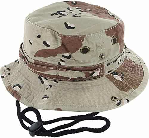 DealStock 100% Cotton Boonie Fishing Bucket Men Safari Summer String Hat Cap  (15+ a7fa52a2a12f