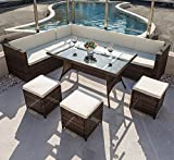 COMHO Sectional Patio Sofa Set with Cushioned Seat&Glass Table 7 Pieces 9 Seats Outdoor Furniture Brown Checkered Wicker
