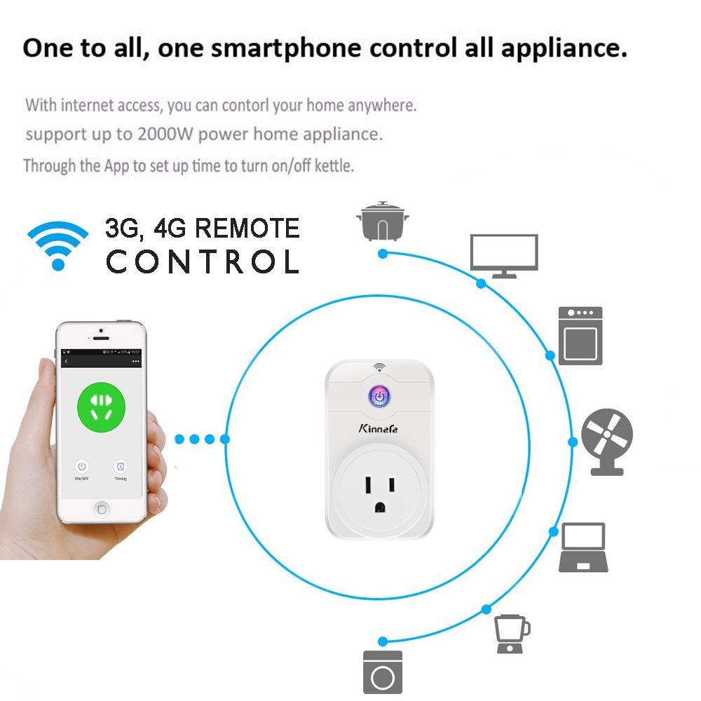 Smart Plug Wifi Timer Switch Power Outlet Socket App Timerswitch For Radio Control Applications Wireless Remote By Iphone Ios Android Phone Compatible With Alexa Echo