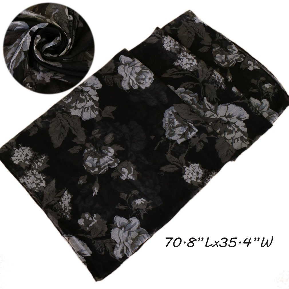 47ca1c53e8b2d LMVERNA floral scarfs lightweight scarves for women print flower viscose  scarfs long wrap (Black)... at Amazon Women's Clothing store
