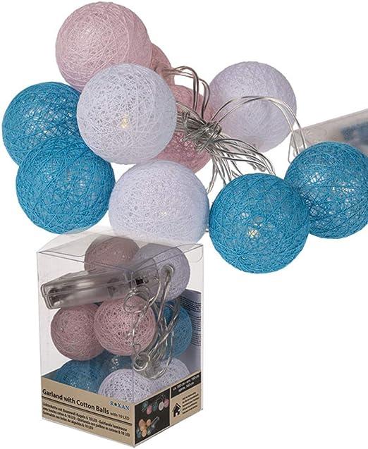 Guirnalda de bolas de algodón decorativa y decorativa de aprox. 160 cm. 10 luces LED que