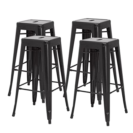 New Pacific Direct Metropolis Metal Backless Counter Stool 26 ,Indoor Outdoor Ready,Black,Set of 4