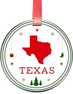 Elegant Chef Texas State Christmas Ornament- Tree Hanging TX Lover Patriotic Decoration for Xmas Holidays Celebration- 3 inch Flat Stainless Steel- Festival Decor Long Distance Gift for Family Friends