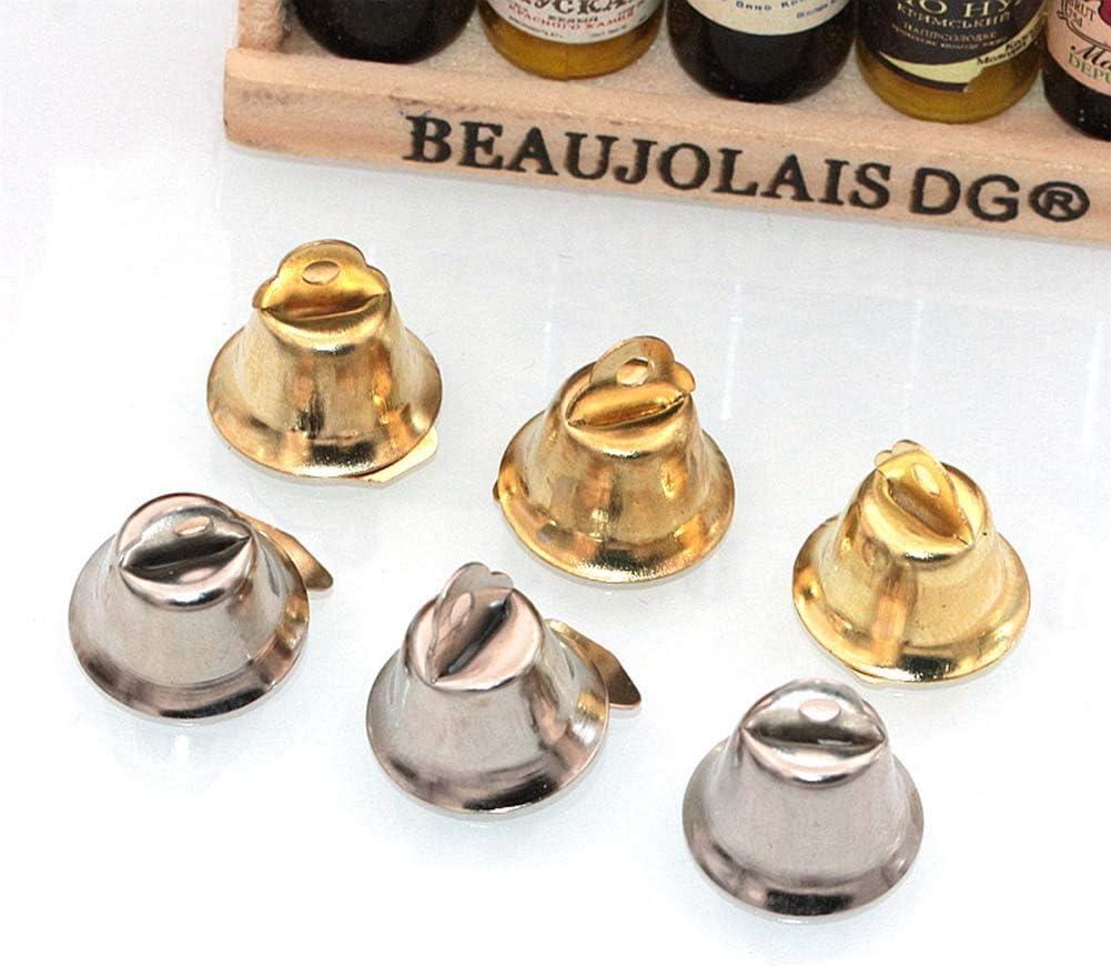 10MM HOUTBY 50PCS Mini Liberty Metal Craft Gold Jingle Bells Wedding Favor Supplies Christmas Festival Decoration