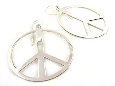 Jewellery Chic Boutique Antique Silver Hippie Boho Peace Sign Symbol Jewellery Dangle Earrings + Gift Bag K2NqKp7