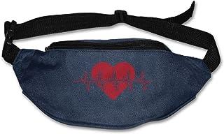 Unisex Pockets Heartbeat Fanny Pack Waist/Bum Bag Adjustable Belt Bags Running Cycling Fishing Sport Waist Bags Black