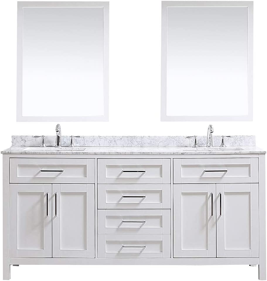 Ove Decors Maya 72 in. White Double Vanity Sink with Marble Top and Mirrors, 72 inches,